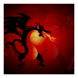 Funny black dragon spewing out fire poster