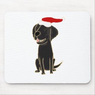 Funny Black Flat Coated Retriever Christmas Art Mouse Pad