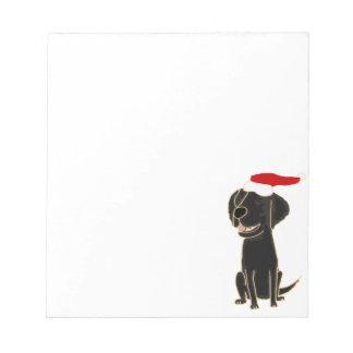 Funny Black Flat Coated Retriever Christmas Art Note Pad