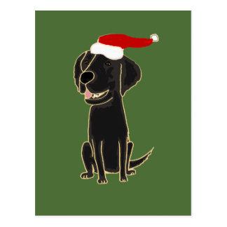 Funny Black Flat Coated Retriever Christmas Art Postcards