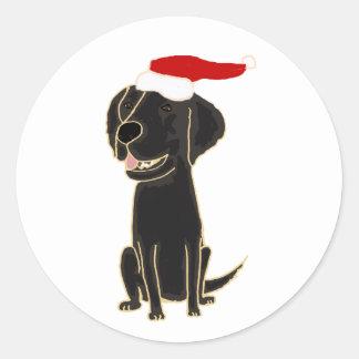Funny Black Flat Coated Retriever Christmas Art Round Stickers