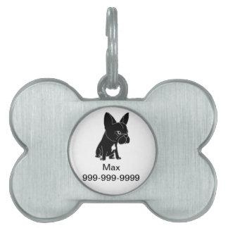 Funny Black French Bulldog Puppy Dog Pet ID Tag
