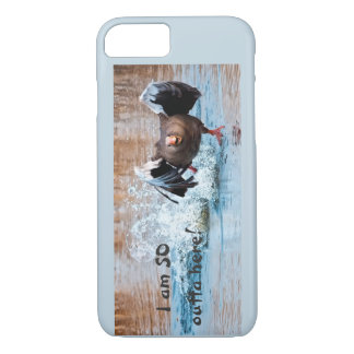 Funny Black Goose Photo Running Away on Water iPhone 8/7 Case
