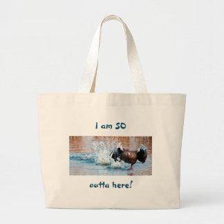 Funny Black Goose Photo Running Away on Water Large Tote Bag