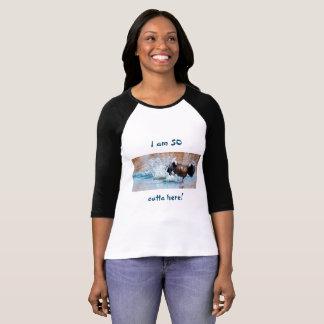 Funny Black Goose Photo Running Away on Water T-Shirt