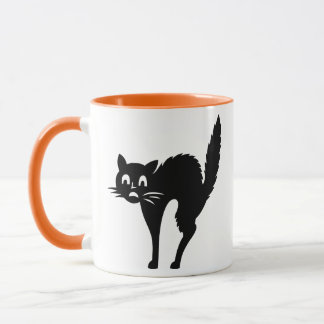 Funny Black Halloween Scared Kitty Cat Coffee Mug