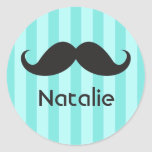 Funny black handlebar moustache moustache aqua round sticker