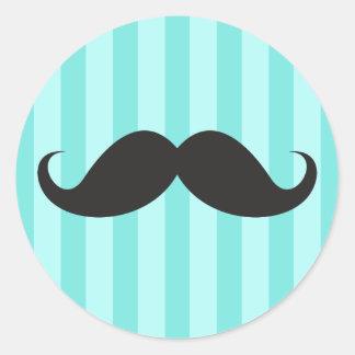 Funny black handlebar mustache moustache aqua blue round sticker