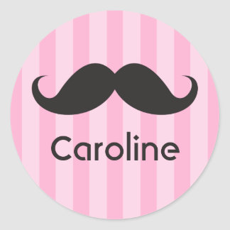 Funny black handlebar mustache moustache pink name round sticker
