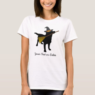 Funny Black Lab Dog Halloween Witch Hat Custom T-Shirt