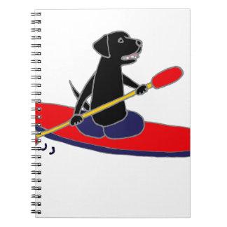 Funny Black Labrador Retriever Dog Kayaking Notebook