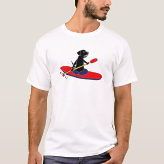 Funny Black Labrador Retriever Dog Kayaking T-Shirt
