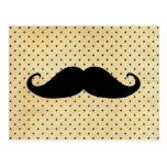 Funny Black Moustache On Vintage Yellow Polka Dots