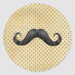 Funny Black Moustache On Vintage Yellow Polka Dots Round Stickers