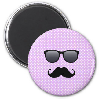 Funny Black Mustache And Glasses 6 Cm Round Magnet