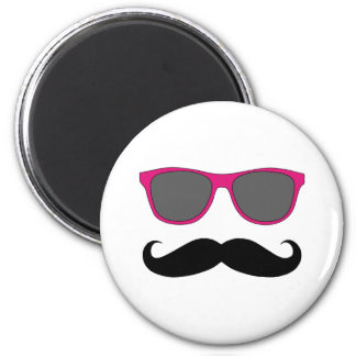 Funny Black Mustache and Pink Sunglasses Magnet Magnets