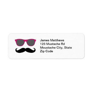Funny Black Mustache and Sunglasses Return Address Return Address Label