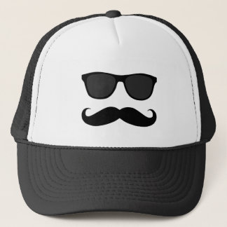 Funny Black Mustache and Sunglasses Trucker Hat