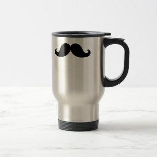 Funny Black Mustache Humor Travel Mug