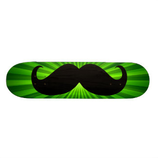 Funny black mustache on green background 2 21.6 cm old school skateboard deck
