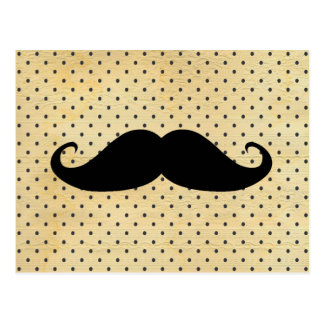 Funny Black Mustache On Vintage Yellow Polka Dots Postcard