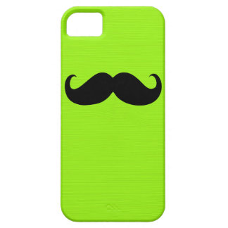 Funny Black Mustache on Yellow Green Background Barely There iPhone 5 Case