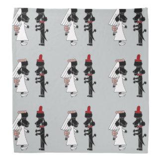 Funny Black Poodle Bride and Groom Wedding Art Bandana