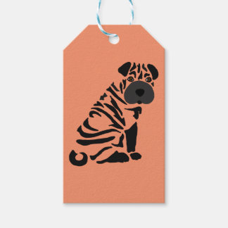 Funny Black Shar Pei Dog Abstract Art Gift Tags
