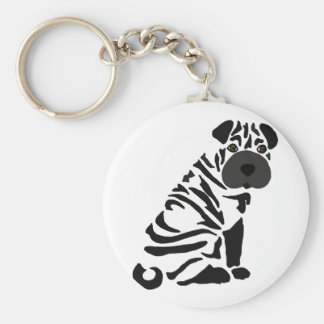 Funny Black Shar Pei Dog Abstract Art Key Ring
