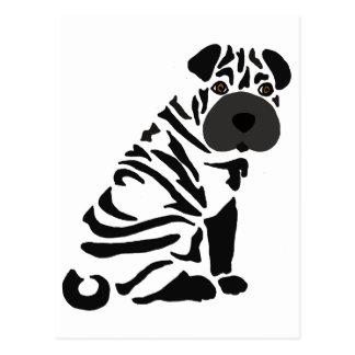 Funny Black Shar Pei Dog Abstract Art Postcard