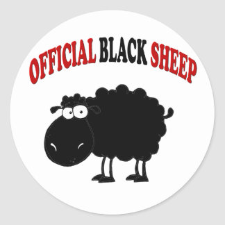 Funny black sheep classic round sticker