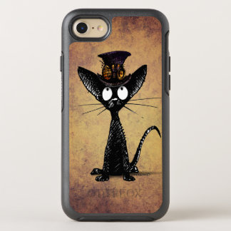 Funny Black Steampunk Cat in a Top Hat OtterBox Symmetry iPhone 7 Case