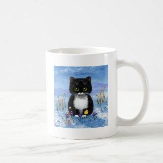 Funny Black Tuxedo Cat Winter Snow Creationarts Coffee Mug