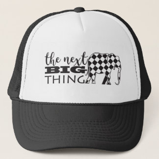 Funny Black White Elephant Checked Next Big Thing Trucker Hat