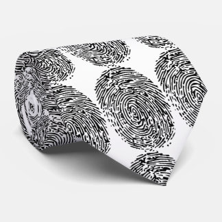Funny black & white fingerprints for police tie