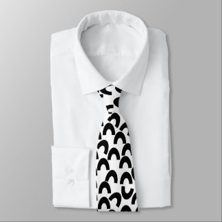 Funny Black White Tie, Bow Half Circles Geometric Tie