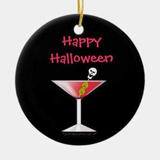 Funny Bloody Martini with Skull Halloween Ceramic Ornament