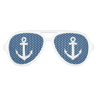 Funny blue and white nautical anchor party shades