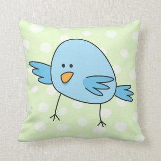 Funny blue bird kids animal cartoon throw pillow