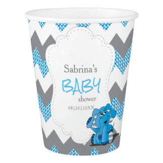 Funny Blue Chevron Silly Cute Baby Elephant Paper Cup