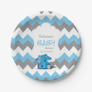 Funny Blue Chevron Silly Cute Baby Elephant Paper Plate