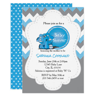 Funny Blue Chevron Silly Elephant | Baby Shower Card