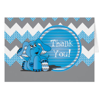 Funny Blue Chevron Silly Elephant - Thank You Card