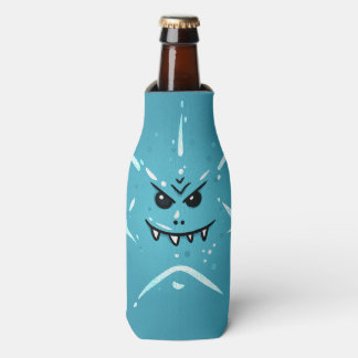 Funny Blue Face with Sneaky Smile Bottle Cooler