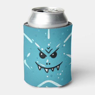 Funny Blue Face with Sneaky Smile Can Cooler