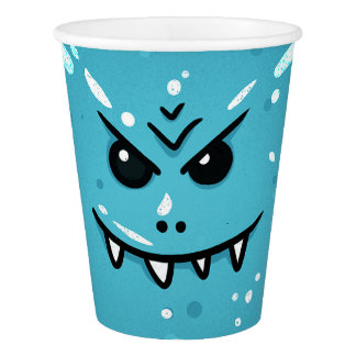 Funny Blue Face with Sneaky Smile Paper Cup