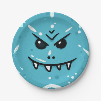 Funny Blue Face with Sneaky Smile Paper Plate