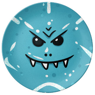 Funny Blue Face with Sneaky Smile Plate
