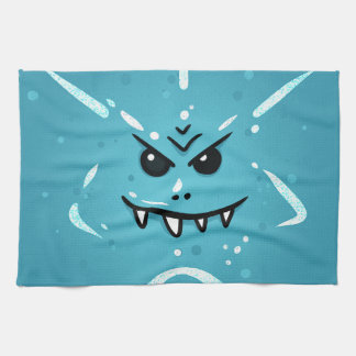 Funny Blue Face with Sneaky Smile Tea Towel