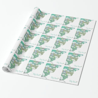 Funny blue infantile kittens, baby to shower wrapping paper